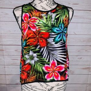 Line & Dot Women's Sleeveless Top Tropical Print